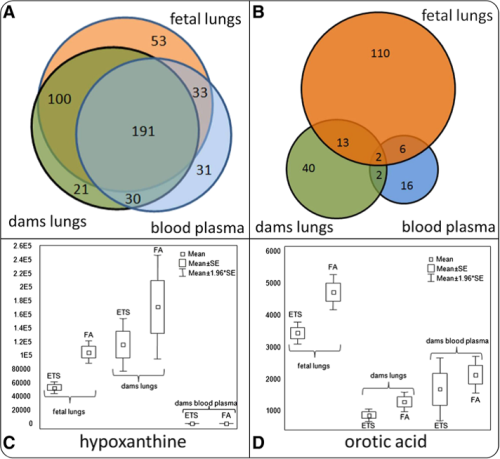 analysis of metabolomic data and differential metabolic regulation for fetal lungs, and maternal blood plasma