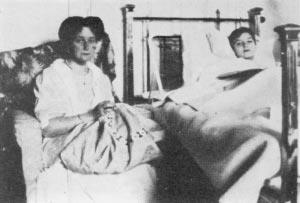 Empress Alexandra at the Tsarevich's bedside during a haemophiliac crisis