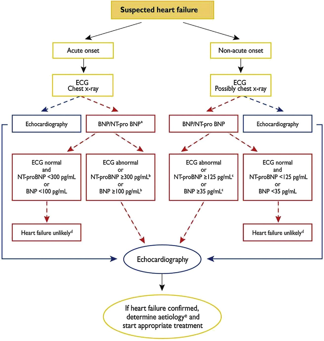 Diagnostic algorithm for suspected heart failure presenting either acutely or nonacutely