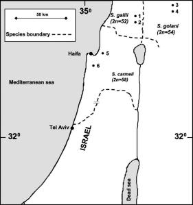map of the studied sites