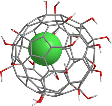 Gd@C82(OH)22 consists of a gadolinium atom (green) inside a 2 nm cage of carbon atoms (grey)