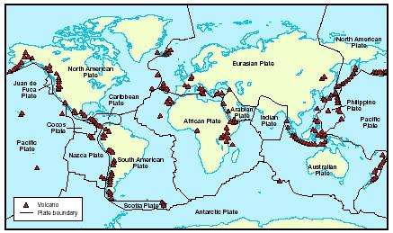 volcanoes found all over the Earth, particularly at plate boundaries