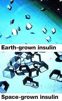 Insulin crystals NASA