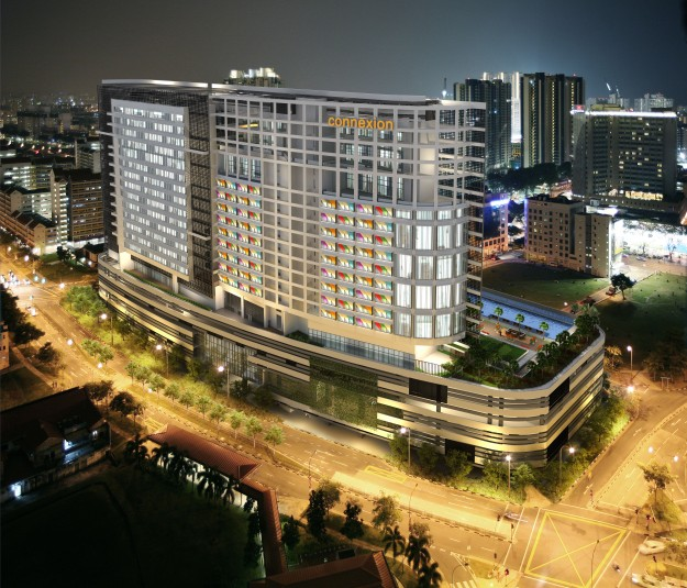 Farrer Park Hospital at Connexion at night